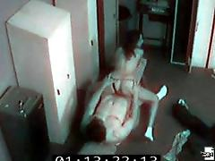 Security cam footage of hot locker room hardcore action