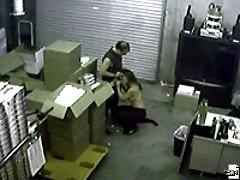 Couple caught having sex in the warehouse by hidden cameras