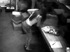 Hardcore action of a girl getting bent over a desk at work